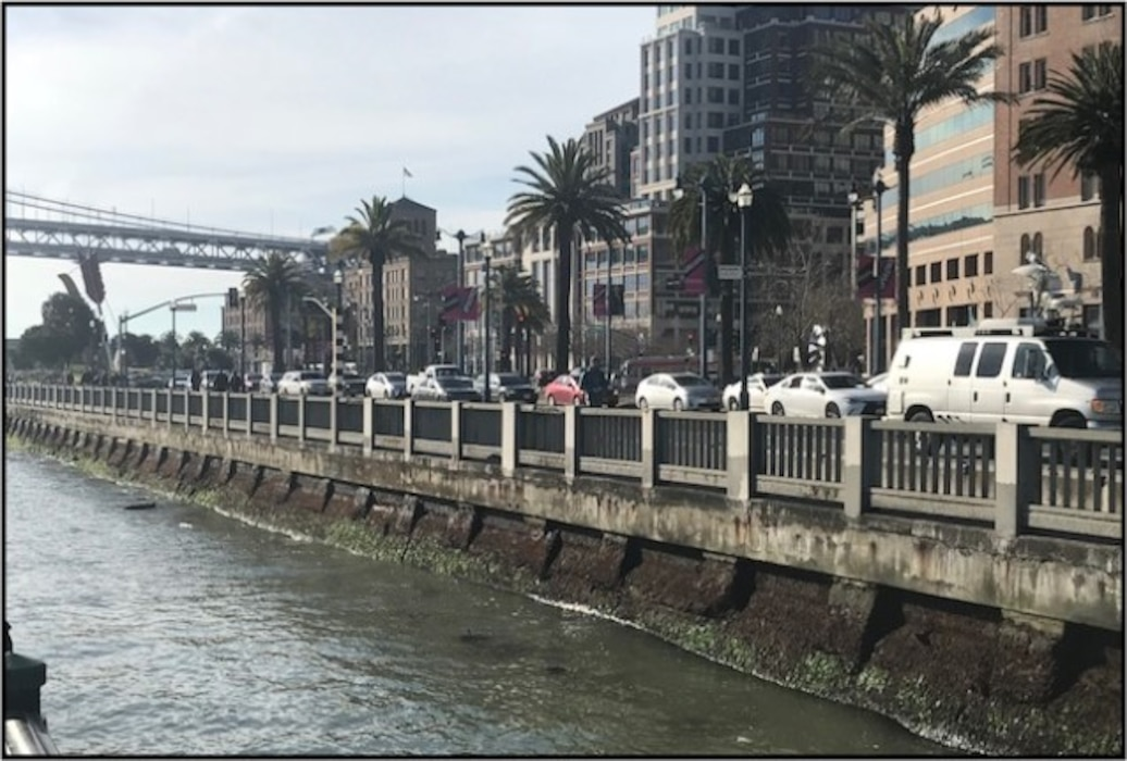 The crumbling San Francisco seawall, a 100 plus year-old structure along the city's Embarcadero that is in danger of failing during a costal surge or a major earthquake.