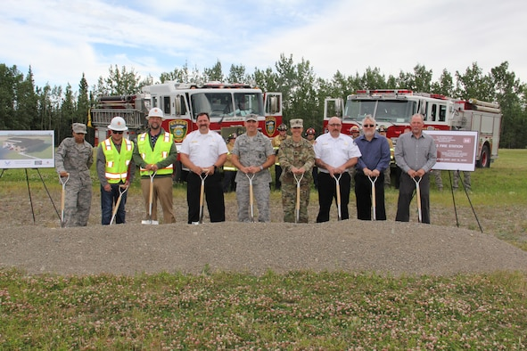 CLEAR AIR FORCE STATION, Alaska -- Clear Air Force Station, Alaska held a groundbreaking ceremony on the site of the future home of a Clear Fire and Emergency Services facility, July 9, 2018. Clear AFS plans for the new fire station to include four drive through stalls, 14 individual bunkrooms, a first-class training room and support areas. (Courtesy photo)