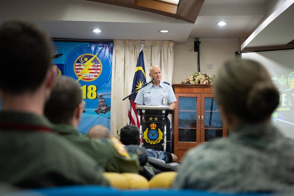 U.S. Air Force Maj. Gen. James Eifert, Air National Guard Assistant to the Commander, Pacific Air Forces, gives closing remarks to Cope Taufan 18 (CT18) participants at Subang Air Base, Malaysia, July 20, 2018. CT18 is a Pacific Air Forces-sponsored, bilateral, tactical airlift exercise that involves U.S. and Malaysian military forces. The biennial exercise is designed to advance interoperability between the two forces and allow for the exchange of airlift and airdrop, close air support and sir superiority techniques. (U.S. Air Force photo by Tech. Sgt. Michael Smith)