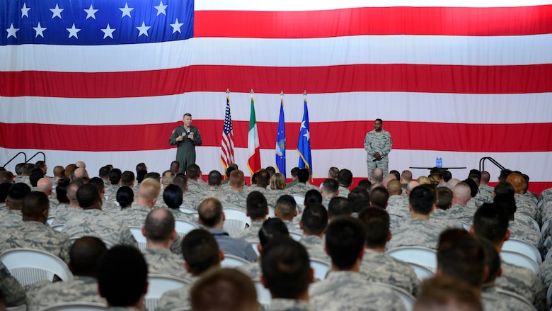 Gen. Tod D. Wolters, U.S. Air Forces in Europe and Air Forces Africa commander, speaks with Airmen at an all call during his visit to Aviano Air Base, Italy, July 23, 2018. Wolters met with Team Aviano members to express his gratitude for the hard work and dedication the wing gives toward defending U.S. and NATO interests and to remind Airmen to take time for themselves and their families. (U.S. Air Force photo by Staff Sgt. Cary Smith)