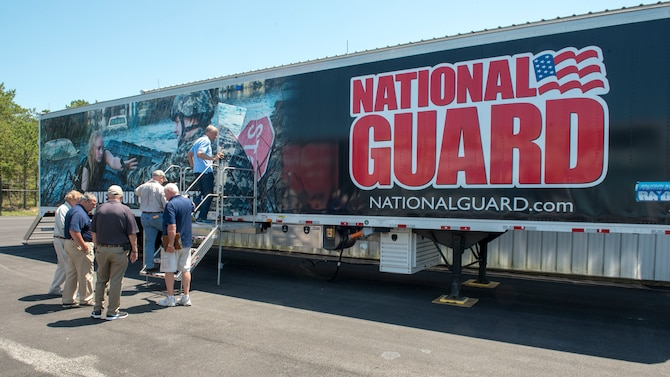 The Employer Support of the Guard and Reserve program coordinated a base tour for employers of national guardsmen and reservists at Joint Base Cape Cod on July 13, 2018. The tour included a ride on a UH-60 Black Hawk helicopter at Camp Edwards and a briefing at the 102nd Intelligence Wing at Otis Air National Guard Base.