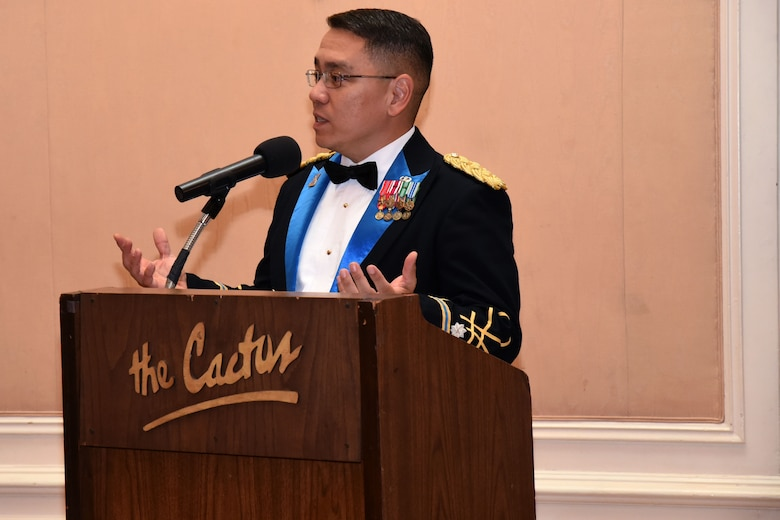 U.S. Army Lt. Col. Yukio Kuniyuki, 344th Military Intelligence Battalion commander, reminds soldiers of their heritage in the signals intelligence and cryptology fields of the Army at the centennial celebration at the Cactus Hotel in San Angelo, Texas, July 20, 2018. He thanked members and their guests for attending and encouraged everyone to remember that, as service members, everyone is needed to fulfill the mission. (U.S. Air Force photo by Airman 1st Class Seraiah Hines/Released)