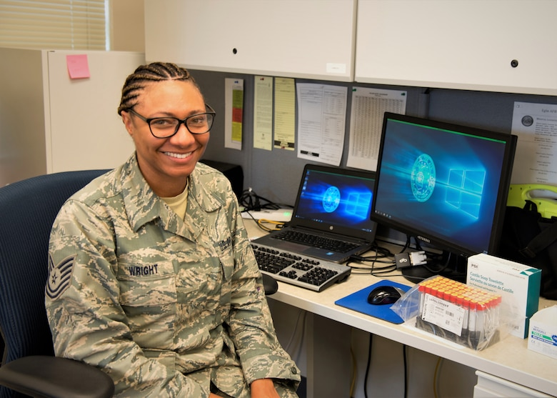 Tech. Sgt. Brittiany Wright serves as the noncommissioned officer in charge of medical logistics for the 919th Special Operations Medical Squadron at Duke Field, Fla.