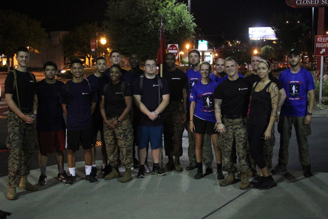 The Rucking Raiders were joined by Marine Corps Recruiting Station Columbia during their Marine Raider March on a portion of the 900 mile ruck on July 21, 2018, as they passed through Columbia, S.C. Marines and future Marines from RS Columbia joined the ruckers for 8 miles of their journey, to honor service members who lost their lives in a aircraft crash a year ago. To support the march, follow the Marine Raider Memorial March on Facebook and visit their website at http://www.ruckingraiders.com. (U.S. Marine Corps photo by Sgt. Tabitha Bartley)