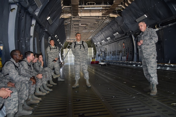 Chaplain (Maj.) Jesse Howard, 433rd Airlift Wing, answers questions for 21 Air Force Chaplain Candidate Program Reserve Citizen Airmen chaplain candidates July 14 at Joint Base San Antonio-Lackland. The candidates are on a summer tour of active-duty bases.
