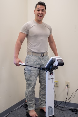 Senior Airman Tam Dang, 514th Air Mobility Wing, takes part in an InBody analysis, which measures your segmental muscle, fat and water percentages in less than a minute. the Civilian Health Promotion Services provides free InBody and blood screenings to DoD employees. For more information contact CHPS at 609-754-1963 or email at anna.orlov@.ctr@us.af.mil or michele.jones.3.ctr@us.af.mil.