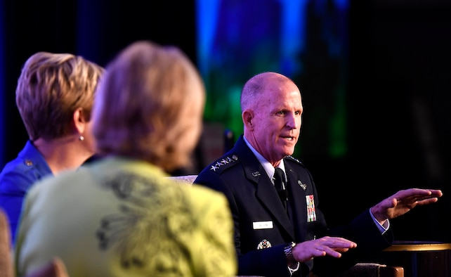Air Force Vice Chief of Staff Gen. Stephen W. Wilson speaks during the Military Child Education Coalition National Training Seminar in Washington, D.C., July 24, 2018. The Air Force has continuously placed an emphasis on school age dependent education because of a direct correlation with family resilience to maintain a willingness of families to continue to support their Airman sponsors wherever they are asked to serve. (U.S. Air Force photo by Staff Sgt. Rusty Frank)