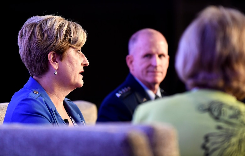 Air Force Vice Chief of Staff Gen. Stephen W. Wilson, and his wife Nancy, speak with Dr. Mary Keller, President and Chief Executive Officer of the Military Child Education Coalition during the MCEC National Training Seminar in Washington, D.C., July 24, 2018. The Air Force has continuously placed an emphasis on school age dependent education because of a direct correlation with family resilience to maintain a willingness of families to continue to support their Airman sponsors wherever they are asked to serve. (U.S. Air Force photo by Staff Sgt. Rusty Frank)