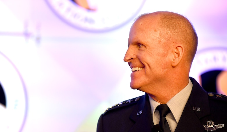 Air Force Vice Chief of Staff Gen. Stephen W. Wilson smiles during the Military Child Education Coalition National Training Seminar in Washington, D.C., July 24, 2018. The Air Force has continuously placed an emphasis on school age dependent education because of a direct correlation with family resilience to maintain a willingness of families to continue to support their Airman sponsors wherever they are asked to serve. (U.S. Air Force photo by Staff Sgt. Rusty Frank)