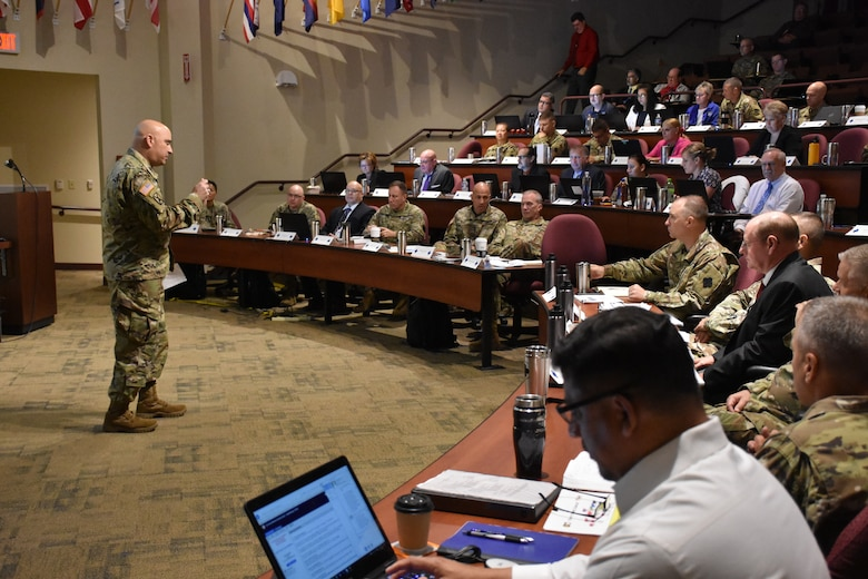 Brig. Gen. Alberto C. Rosende, assistant to the deputy commanding general, U.S. Army Reserve Command, speaks to the 88th Readiness Division command team along with the command teams of the 81st Readiness Division and USARC, as well as key staff from the 63rd RD and 99th RD, during the annual Mission Readiness Review (MR2) at the 88th RD headquarters on Fort McCoy, Wis., July 11 and 12.