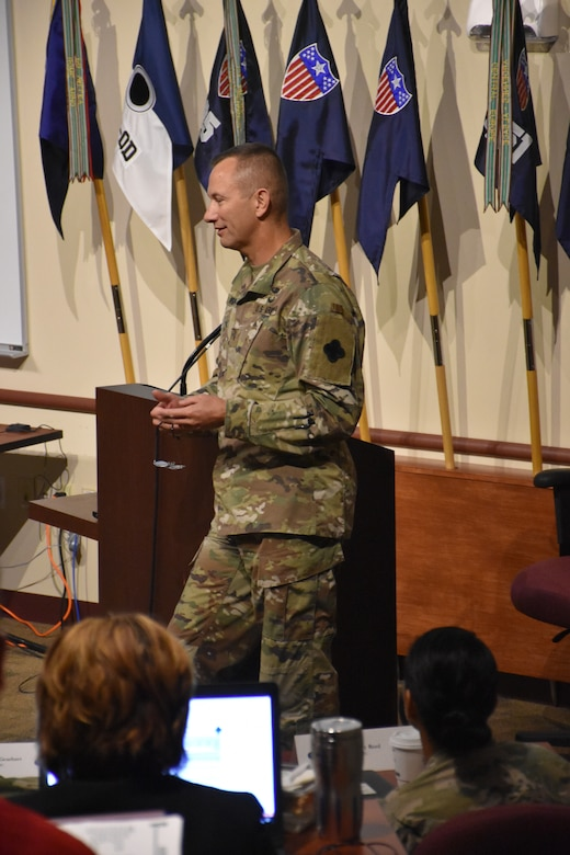 Brig. Gen. Tony R. Wright, the 88th RD deputy commanding general, presents an organization overview to the command teams of the 81st Readiness Division and U.S. Army Reserve Command, as well as key staff from the 63rd RD and 99th RD, during the annual Mission Readiness Review (MR2) at the 88th RD headquarters on Fort McCoy, Wis., July 11 and 12.