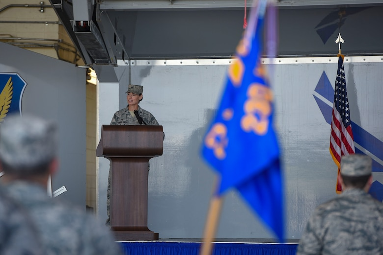 Col. Susan Riordan-Smith, 23d Mission Support Group commander, gives final remarks during a change of command ceremony, July 25, 2018, at Moody Air Force Base, Ga. Riordan-Smith thanked the 1,500 men and women of the MSG that train, equip and deploy personnel support forces to build, protect and sustain air bases worldwide for combat air operations during her tenure. (U.S. Air Force photo by Senior Airman Greg Nash)