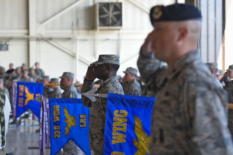 Members of the 23d Mission Support Group salute during a change of command ceremony, July 25, 2018, at Moody Air Force Base, Ga. The 23d MSG recognized the formal transfer of authority and responsibility as Col. Susan Riordan-Smith relinquished command to Col. Brian Stumpe. The 23d MSG is comprised of six squadrons with approximately 1,500 personnel dedicated to training, equipping and deploying personnel support forces to build, protect and sustain air bases worldwide for combat air operations. (U.S. Air Force photo by Senior Airman Greg Nash)