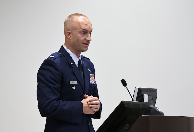 U.S. Air Force Lt. Col. Andrew Miller, 333rd Training Squadron commander, delivers remarks during the 333rd TRS change of command ceremony in the Roberts Consolidated Aircraft Maintenance Facility at Keesler Air Force Base, Mississippi, July 24, 2018. Miller assumed command from Lt. Col. Nathaniel Huston, outgoing 333rd TRS commander. (U.S. Air Force photo by Kemberly Groue)