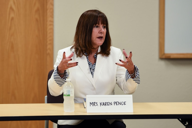 Mrs. Karen Pence, the Second Lady of the United States, speaks to military spouses July 25, 2018, on Grand Forks Air Force Base, North Dakota. Mrs. Pence met with ten spouses to discuss current issues they are facing.  (U.S. Air Force photo by Airman 1st Class Melody Wolff)