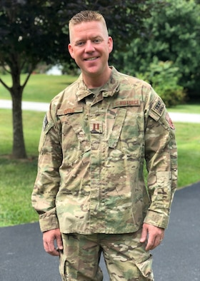 Captain Dustin Doyle, pictured in the OCP uniform, will be the Officer-in-Charge of the AFCENT Band at Al Udeid Air Base, Qatar