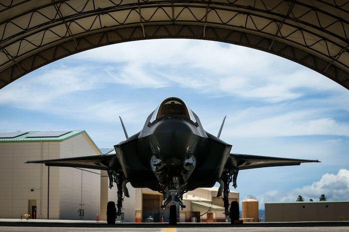 A U.S. Marine Corps F-35B Lightning II assigned to Marine Fighter Attack Detachment 211, 13th Marine Expeditionary Unit, is displayed during at a media day at Joint Base Pearl Harbor-Hickam, during a regularly scheduled deployment of Essex Amphibious Ready Group and 13th MEU, July 21, 2018. The Essex ARG/ 13th MEU team is a strong, flexible, responsive, and consistent force capable of maneuver warfare across all domains; it is equipped and scalable to respond to any crisis from humanitarian assistance and disaster relief to contingency operations. The Essex ARG and 13th MEU is the first continental United States Navy/Marine Corps team to deploy with the F-35B.