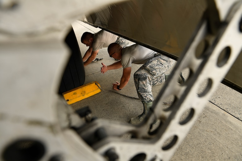 U.S. Air Force Tech. Sgt. Matthew Temple (left) and Staff Sgt. James Srackangast (right), 145th Aircraft Maintenance Squadron, place chalks under the wheels of a C-17 Globemaster III aircraft after towing it into position at the North Carolina Air National Guard Base, Charlotte Douglas International Airport, July 24, 2018. Chalks are a safety measure in place whenever the airframe is parked.
