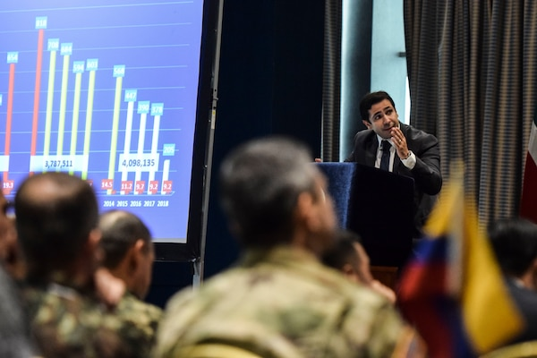 Panamanian Vice Minister Jonattan Del Rosario, Ministry of Public Security speaks during a seminar as part of the Senior Leader Symposium