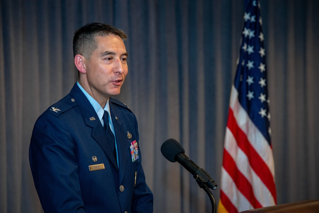 Maxwell AFB, Ala. - Colonel Patrick J. Carley assumes command of the 42d Air Base Wing in a ceremony presided over by Commander and President of Air University Lieutenant General Anthony J. Cotton, July 23, 2018.  (US Air Force photo by Melanie Rodgers Cox)