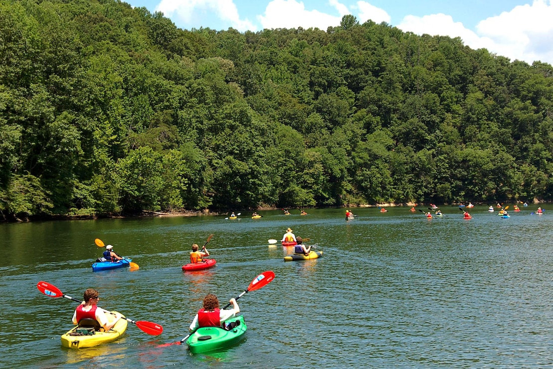 Kayakers on Philpott Lake near Martinsville, Virginia.