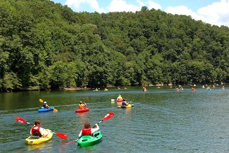 Kayakers on Philpott Lake near Martinsville, Virginia.
