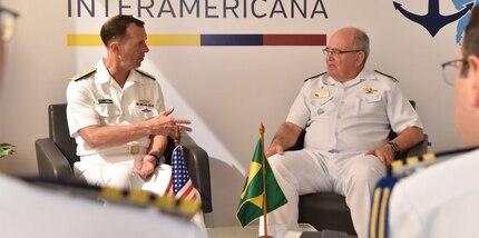 Chief of Naval Operations Adm. John Richardson talks with the Commander of the Brazilian Navy Adm. Eduardo Leal Ferreira