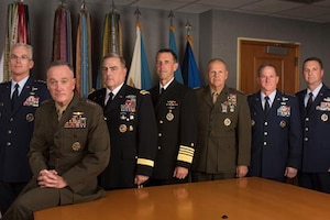 The Joint Chiefs of Staff pose for a photo.