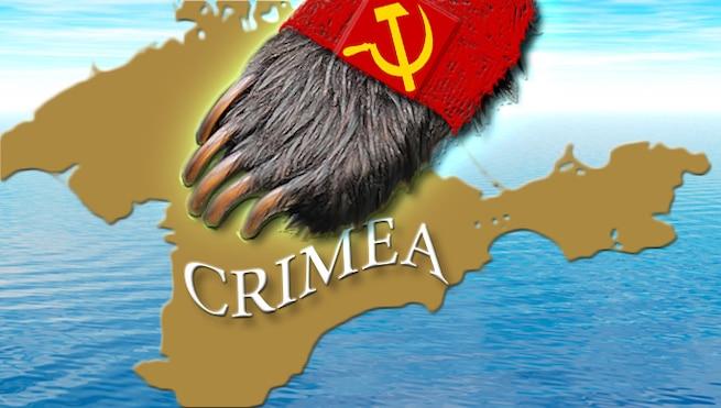 Russian sloth paw over Crimea