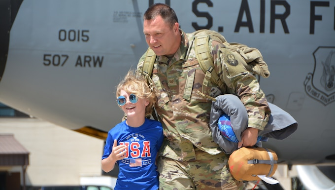 TINKER AIR FORCE BASE, Okla. -- Family, friends, and co-workers greet a deployed group of U.S. Air Force Reserve Citizen Airmen assigned to the 507th Air Refueling Wing (ARW) at Tinker Air Force Base, Oklahoma, July 3, July 5, and July 7, 2018. More than 100 Reserve Citizen Airmen from the 507th ARW deployed to Incirlik Air Base, Turkey, in support of air operations.