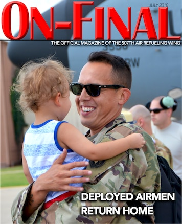 The July 2018 edition of the On-final, the official magazine of the 507th Air Refueling Wing at Tinker Air Force Base, Oklahoma.