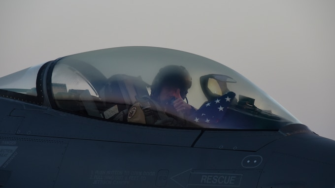 A pilot with the 175th Fighter Squadron gives the thumbs up signaling all systems go prior to launch July 21, 2018