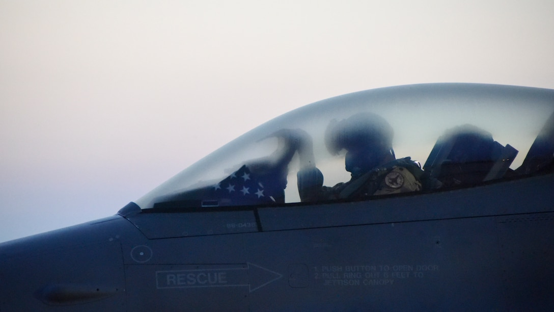 A 175th Fighter Squadron pilot does one last system check before an early morning Launch July 21, 2018