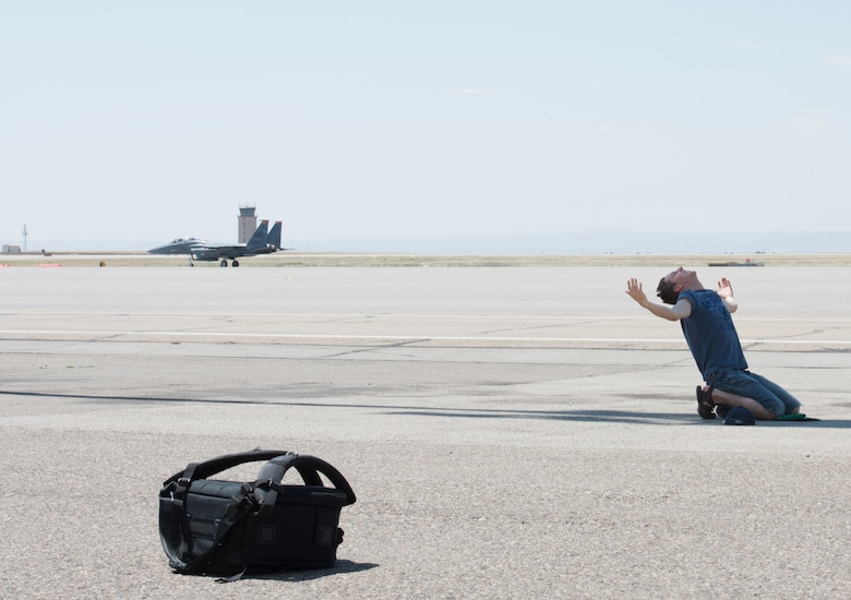Airman 1st Class Trevor Gordnier, 366th Fighter Wing broadcast journalist, acts as decoy during a Force Protection Condition exercise, July 23, 2018, at Mountain Home Air Force Base, Idaho. The exercise tested the wing's ability to execute the proper procedures associated with different FPCONs during a wide variety of scenarios.(U.S. Air Force photo by Airman 1st Class Alaysia Berry)