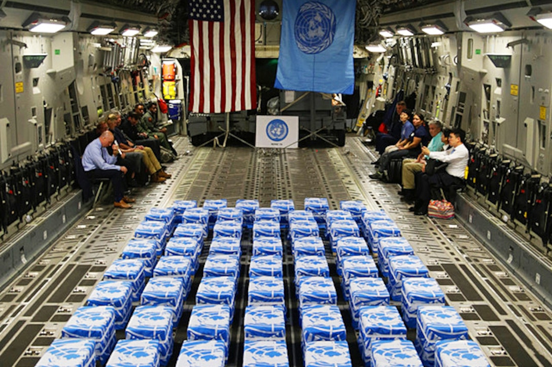 United Nations Command returned 55 cases of remains from the Democratic People's Republic of Korea, also known as North Korea, to Osan Air Base, South Korea, July 27, 2018.