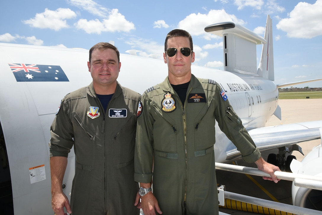 "A crew from the Royal Australian Air Force flew one of their E-7A ""Wedgetail"" AEW&C (Airborne Early Warning and Control) aircraft into Tinker July 13. Wing Commander Mike ""Mango"" Bowen met with the 552nd Air Control Wing Director of Staff Lt. Col. Brian Donehue to discuss with reporters their new exchange program between the two wings."