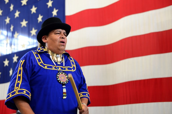 Ralph Isaac, chanter for the Mystic Wind Choctaw Social Dancers, sings at Diversity Day July 19, 2018, on Columbus Air Force Base, Mississippi. The group performed multiple traditional Choctaw dances and songs for Team BLAZE members attending the event. (U.S. Air Force photo by Airman 1st Class Beaux Hebert)