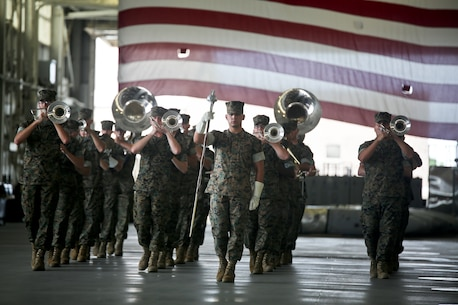 The Parris Island Marine Corps Band performs during a change of command ceremony aboard Marine Corps Air Station Beaufort July 19. The Parris Island Marine Corps Band's primary mission is to provide musical support for recruit graduations and other military ceremonies and events.