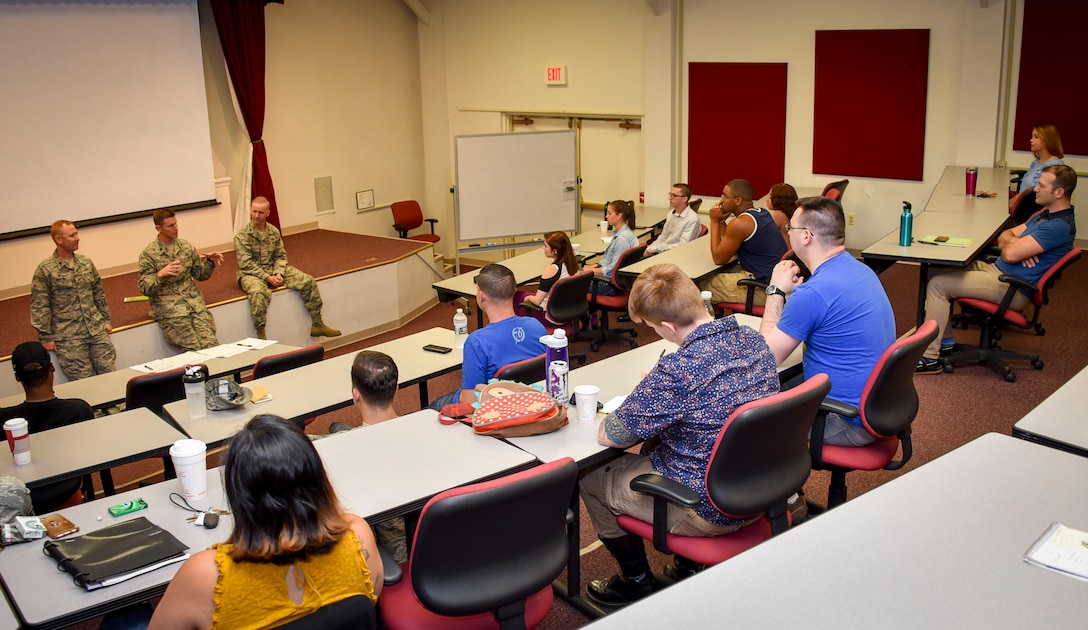 Squadron commanders from the 22nd, 29th and 34th Intelligence Squadrons, conduct a commander's panel with potential members of the Wingmen Connect Program July 18, 2018, at Fort George G. Meade, Maryland.