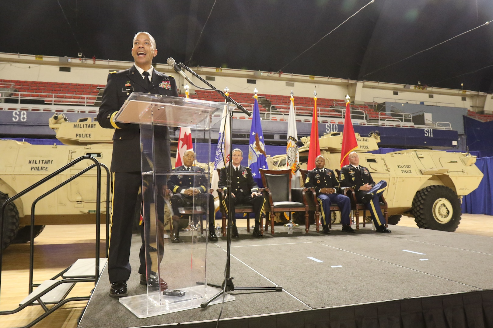 WASHINGTON - Brig. Gen. Aaron R. Dean II gives remarks after the Land Component Command change of responsibility ceremony, June 10, 2018 at the District of Columbia Armory. Dean is the adjutant general of the District of Columbia National Guard.  (U.S. Army National Guard photo by Sgt. Adrian Shelton/Released)