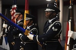 Air Force Senior Airman Pascal Nyowatchon, 435th Air Ground Operations Wing, performs a ceremonial honor guard drill at Ramstein Air Base, Germany.