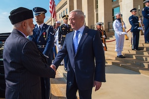 Defense Secretary James N. Mattis welcomes Yusuf bin Alawi, Oman's minister responsible for foreign affairs, to the Pentagon for consultations.