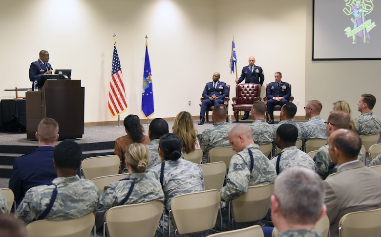 U.S. Air Force Lt. Col. Andre Johnson, incoming 338th Training Squadron commander, delivers remarks during the 338th TRS change of command ceremony in the Roberts Consolidated Aircraft Maintenance Facility at Keesler Air Force Base, Mississippi, July 26, 2018. Johnson assumed command from Lt. Col. Michael Zink, outgoing 338th TRS commander. (U.S. Air Force photo by Kemberly Groue)