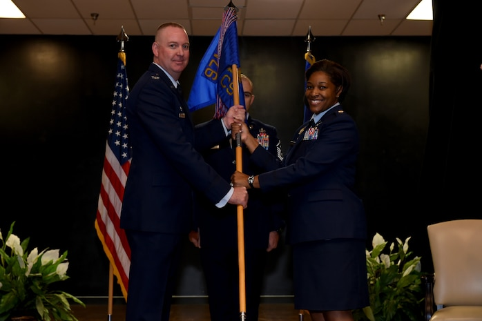 U.S. Air Force Maj Marshalia Vaghans, commander of the 97th Communications Squadron, assumes command, July, 27, 2018, at Altus Air Force Base, Okla.