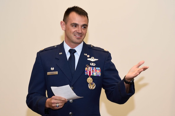 "Lt. Col. Stuart M. Rubio, commander of the Air Force Reserve's 815th Airlift Squadron ""Flying Jennies"" speaks at his retirement ceremony held July 28, 2018, at the Roberts Consolidated Maintenance Facility, Keesler Air Force Base, Mississippi. Rubio, an active-duty C-130 pilot who has been commander of the Flying Jennies since February of 2016, will still continue to serve as commander of the squadron, but instead as a reservist as part of the Regular Air Force to Air Force Reserve Program. (U.S. Air Force photo by Tech. Sgt. Ryan Labadens)"