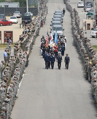 United Nations Command returned 55 cases of remains from the Democratic People's Republic of Korea to Osan Air Base, Republic of Korea, Friday.  Members of the command and the Osan community were on hand at the arrival ceremony. (Photo by U.S. Air Force Technical Sergeant Ashley Tyler.)