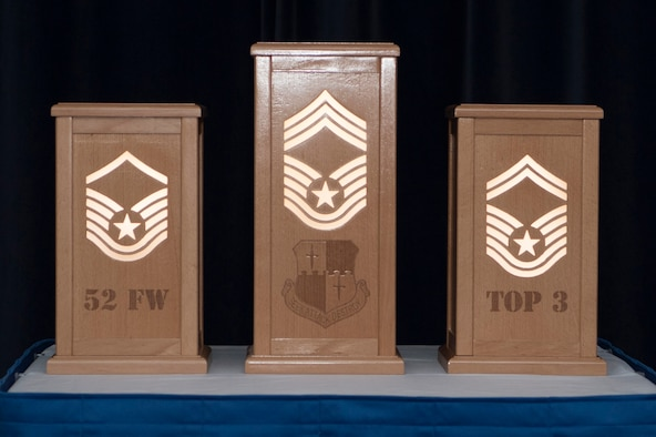 At the SNCO induction ceremony one enlisted member from each SNCO rank lit a pillar to show progression through the ranks.