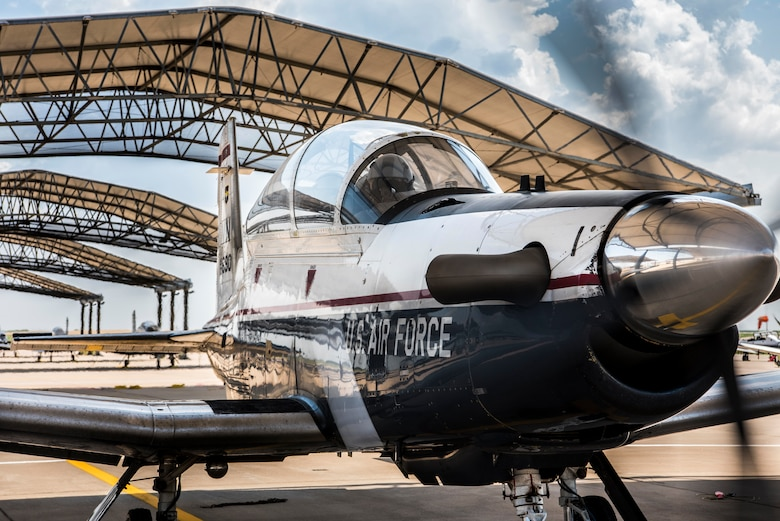 A student and instructor pilot prepare to taxi in a T-6A Texan II, June 13, 2018, Vance Air Force Base, Okla. The T-6 is the first aircraft students attending Specialized Undergraduate Pilot Training learn to fly before moving on to more specialized aircraft. (U.S. Air Force photo by Airman 1st Class Zachary Heal)