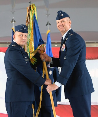Col. Mark S. Robinson (right) assumed command of the 12th Flying Training Wing in a ceremony at Joint Base San Antonio-Randolph July 27. Col. Travis Willis (left), 19th Air Force vice commander, presided over the ceremony.