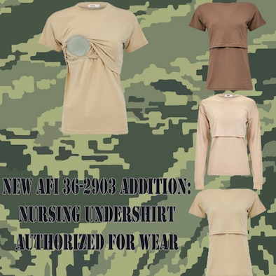 The new policy states that Airmen are authorized to purchase and wear a long or short sleeve breastfeeding t-shirt with their utility uniform.